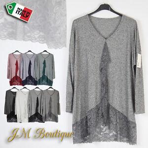Italian-Lagenlook-Tunic-Jumper-Top-Lace-Hem-Blouse-Plus-Size-14-30
