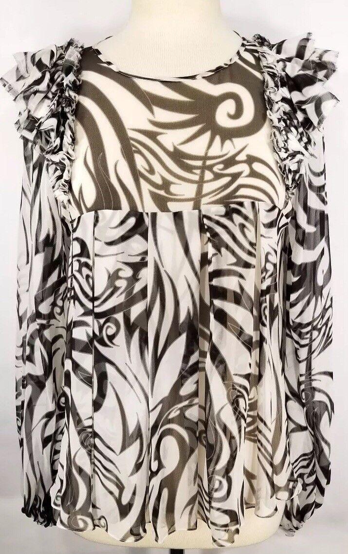 THOMAS WYLDE Small Blouse schwarz Weiß Print Sheer 100% Silk Ruffle Applique EUC