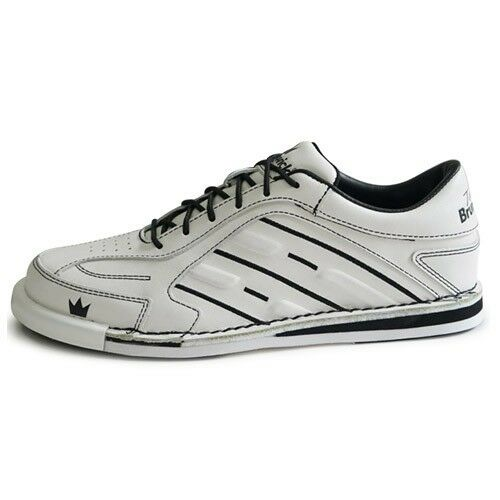 Mens White Team Brunswick Bowling Shoes RH with 5 soles /& 4 heels #REAL Leather