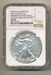 NGC-MS69-2013-W-ANNUAL-Uncirculated-Dollar-coin-Set-burnished-Silver-Eagle