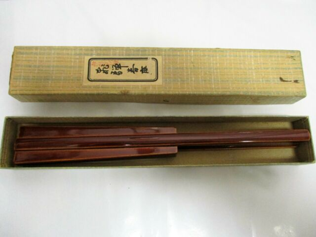 Vintage Japanese Lacquered Wood Chopsticks (Hashi) 1 Pair In A Wood Holder Box