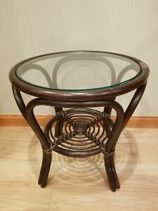 Rattan Natural Wicker Handmade Round Small Coffee Table With Glass Top 20 High Ebay