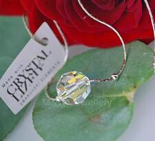 925 STERLING SILVER CHAIN NECKLACE SWAROVSKI Elements FACETED ROUNDS CRYSTAL AB