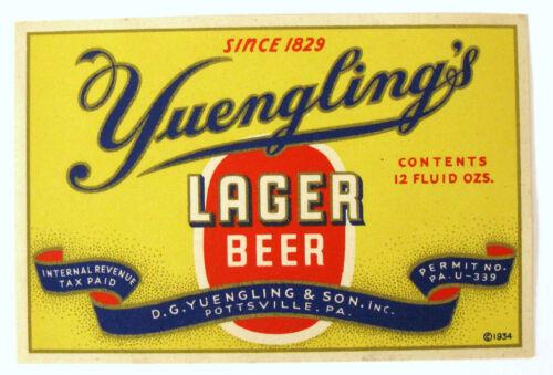 IRTP DG Yuengling & Sons YUENGLING'S LAGER BEER label PA 12oz PA-U-339