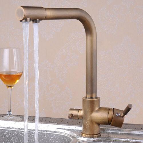 Antique 3 Way Swivel Spout Dual Handles Kitchen Taps Sink Faucet Pure Water Tap