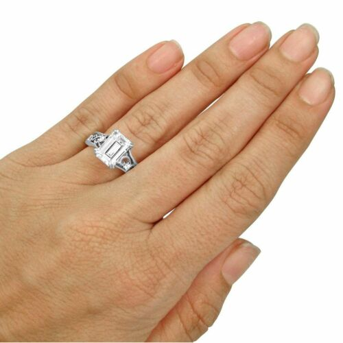 Details about  /2.50Ct White Emerald Cut Diamond Filigree Wedding Ring Solid 925 Sterling Silver