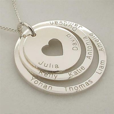 925 Solid Sterling Silver Personalised Double Heart Pendant Necklace /& Chain
