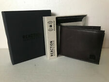 NEW! KENNETH COLE REACTION BROWN DATA PROTECTION RFID BILLFOLD PASSCASE WALLET