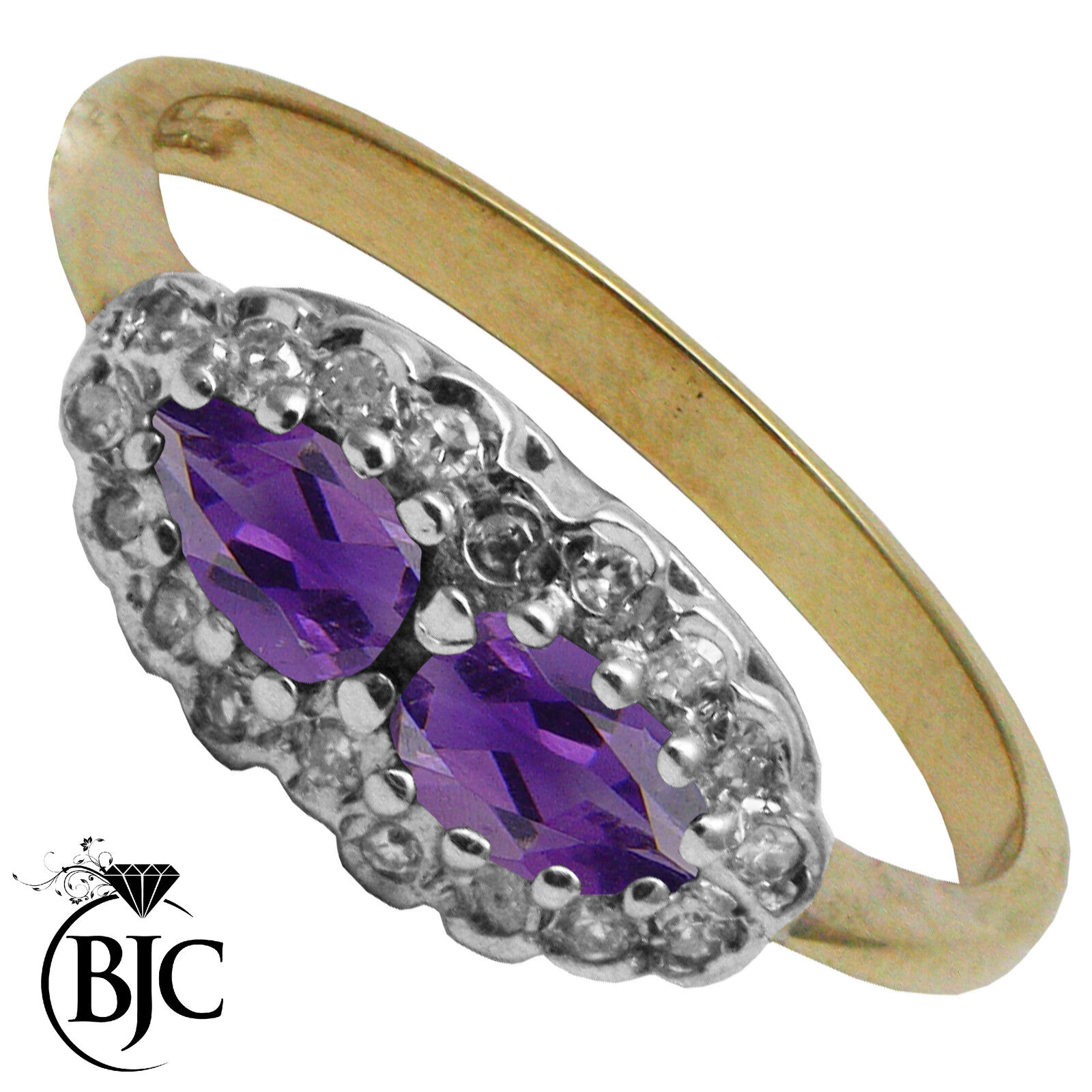 BJC 9 ct gold yellow con amatista & Racimo De Diamantes Pera