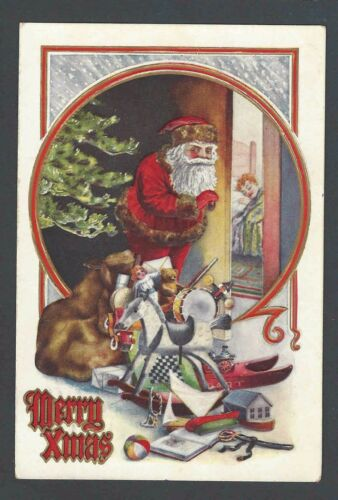 1911 PPC Xmas Greetings WSanta & Bag Of Toys Embossed Posted