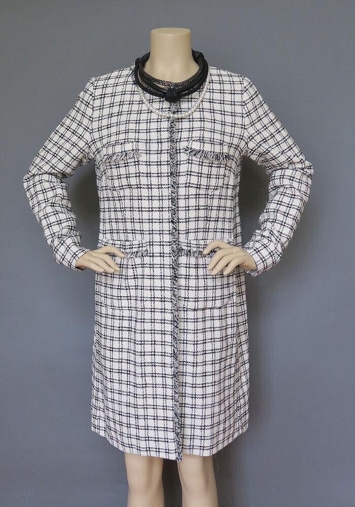 Max Mara Ivory Light Tweed Style Plaid Coat Size M Size 8 MSRP