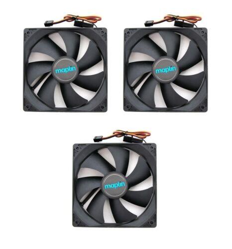 4 Pin 3 x Maplin 1200RPM 120mm 12cm Black Fans Cooler Fan Case PC Computer 3