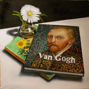 Original Vic Vicini Still Life Painting of Vincent van Gogh Book and Flower