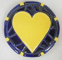 Heart Mosaic Coaster / Plaque / Trivet Handmade Ceramic Tile Dark Blue / Yellow