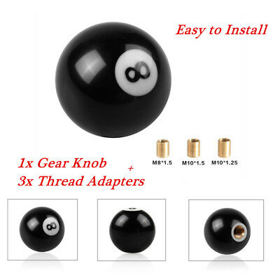 M8*1.25 M10*1.25 M10*1.5 Abfer Gear Shift Knob Black 8 Ball Car Stick Knobs for Shifter Fit Universal Automatic Manual Vehicles Truck