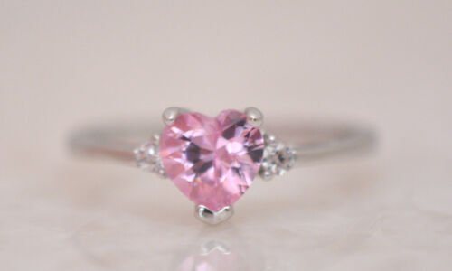 STONE RING  Genuine Sterling Silver.925 Stamped Size 4 SO CUTE PINK HEART C.Z