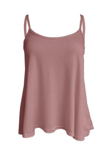 Ladies  Womens New Camisole Cami Plain Strappy Swing Vest Top Flared Sleeveless