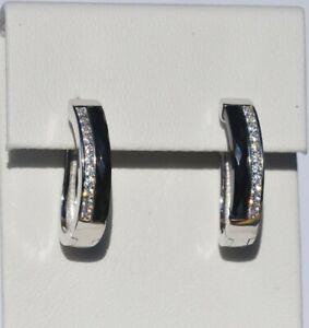 Echt-925-Sterling-Silber-Ohrringe-Creolen-schwarz-Zirkonia-Hochzeit-Nr-434