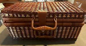 Vintage Rattan Wicker Suitcase Picnic Basket w/ Blue Gingham Vinyl Lining