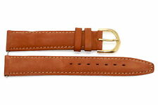 18mm Brown Genuine Leather Suede Stitched High Quality Watch Band Strap