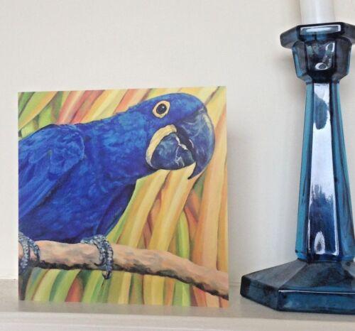 Ara Hyacinthe Carte de Vœux-Ara-Parrot-Bird Art-De Peinture à l/'huile