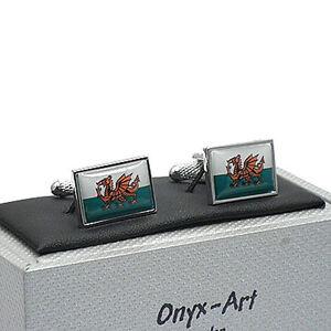 Super-Welsh-Flag-Cufflinks-by-Onyx-Art-Cymru-Dragon-New-Boxed