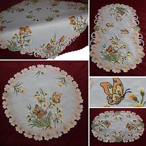 Schmetterling-Tischlaeufer-Tischdecke-Deckchen-SERIE-Orange-Blumen-Mitteldecke