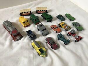 Lote-De-Vintage-Die-Cast-Coches-de-Juguete-Trenes-Camiones-Lesney-Tootsietoy-Hot-Wheels