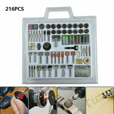 206pcs Mini Rotary Power Drill Hobby Tool Accessory Kit Fits Dremel Multi Tools