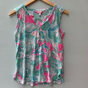 Lilly-Pulitzer-Top-Small-Linen-Tank-Blue-Pink-Floral-Sleeveless-Shirt-4-6-Neck