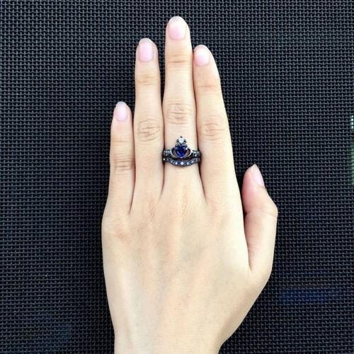 Rétro main dans la main Synthétique Saphir en forme de cœur couronne Anneaux Bande Multicolore Taille G
