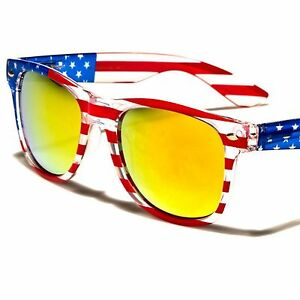 2675dbeb50d Classic Yellow Mirrored Lens Mens Womens American Flag Patriotic Hot ...