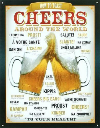 CHEERS From Around The World How To TOAST Beer Mugs Vintage Metal Tin Sign 12x16