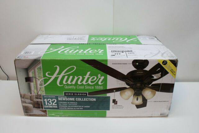 """Hunter Ceiling Fan 52"""" Newsome Collection 3 Bulb 53317 Reversible Blades"""