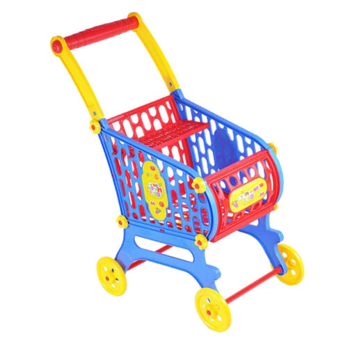 Plastic Supermarket Cart Basket Baby Supplies for Kids /& Toddler Doll Accs