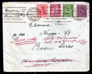 Germany 1922 Postal History Frankfurt to Hotel Belgrand Buenos Aires WS11412