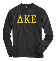 Delta Kappa Epsilon Bella + Canvas Black Long Sleeve T Shirt Dke Letters