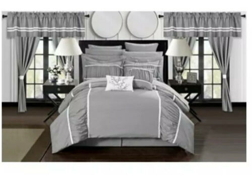 Chic Home Mayan 24 Piece Bed In A Bag Comforter Set - Gray - Size Queen