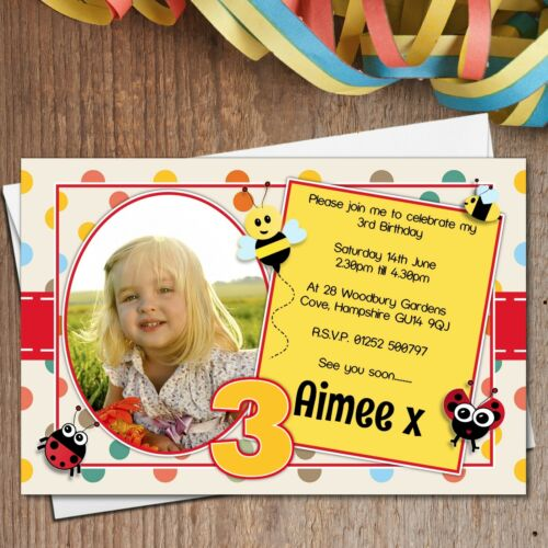 10 Personalised Girl Boy Ladybirds /& Bees Birthday Party PHOTO Invitations N176