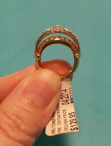 Neat-HSN-Victoria-Wieck-2-Toned-Paved-White-Topaz-Ring-Size-5-925-Vermeil-New