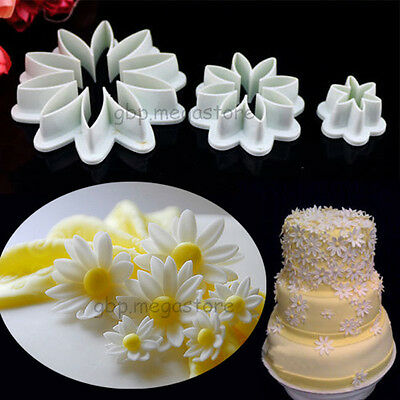 3pcs Big Daisy Flower Fondant Cake Cutter Decorating Cupcake Sugarcraft Tools #T