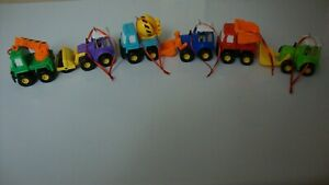 Construction Vehicles Ornament Set Colorful Truck Vehicles with Forklift Roller