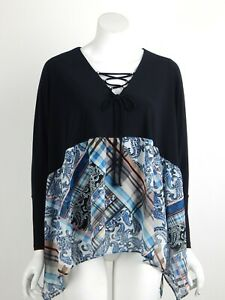 Joseph-Ribkoff-Tunic-Top-Black-V-Neck-Tie-Front-Long-Dolman-Sleeves-Size-8-New