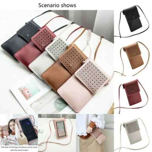 Women Cross-body Touch Screen Cell Phone Wallet Shoulder Bag Leather Pouch Case