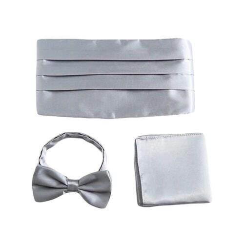 Men Plain Satin Cummerbund Bow Tie Pocket Square Wedding Party Business Suit Set