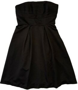 White House Black Market Cocktail Dress Size 8 Strapless Pleated Silk with Scarf