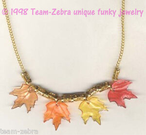 Funky-Autumn-Fall-MAPLE-LEAF-LEAVES-NECKLACE-Thanksgiving-Canada-Costume-Jewelry