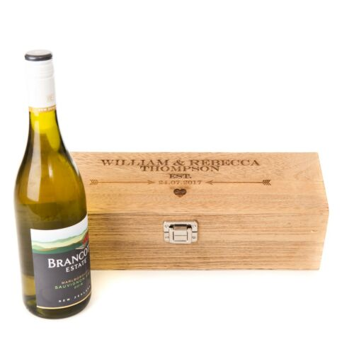 Personalised Engraved Oak Style Wooden Wine Gift Box Wedding Valentines Lined