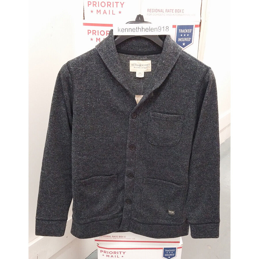 DENIM & SUPPLY RALPH LAUREN MENS HERRINGBONE FLEECE CARDIGAN HERRING SIZE M
