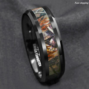 Black-Tungsten-Men-039-s-Red-Forest-Camouflage-Camo-Hunting-ATOP-Band-Ring-Size-6-13